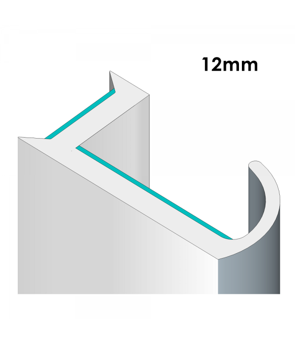 90° Glass Partition Joining Strips For 12mm Glass - Dry Joins