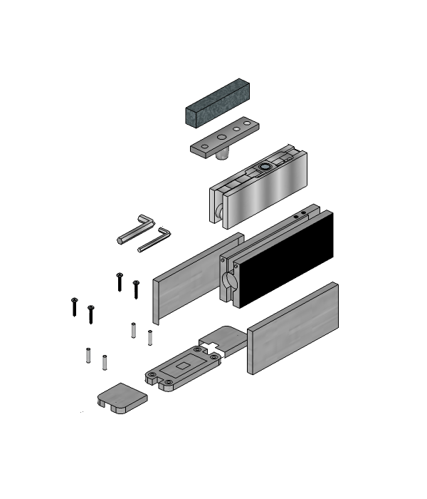 Hydraulic Floor Hinge and Top Patch for 10 or 12mm Glass
