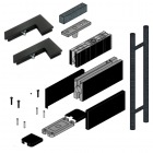 Black Transom Glass Door Hardware With 900mm Handle