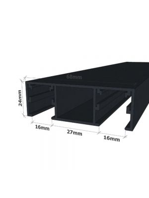 24mm Double Glazed Glass Partition Channel - Black