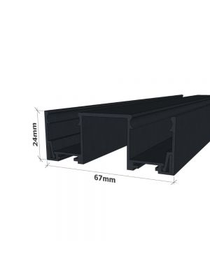 Double Glazed Channel with Clip in sides - For Floors and Walls -BLACK