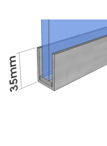 35mm U Channel - Glass Partition Channel