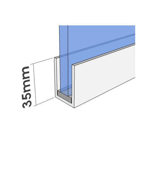 35mm U Channel - White - Glass Partition Channel