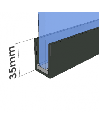Glass Partition U Channel - Glass Partition Track - Anthracite Grey RAL 7016