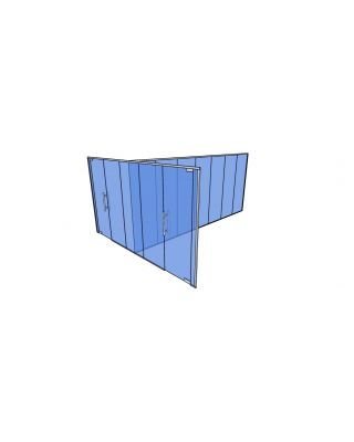 10mm Toughened Glass Partitioning  Kit with Divider and 2 Doors-2650mm (h) x 5050mm (w) x 6350mm (d).