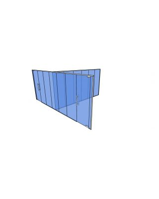 10mm Toughened Glass Partitioning  Kit with Divider and 2 Doors-2650mm (h) x 6860mm (w) x 5445mm (d).