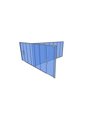 10mm Toughened Glass Partitioning  Kit with Divider and 2 Doors-2650mm (h) x 6860mm (w) x 6350mm (d).