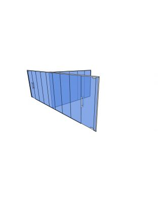 10mm Toughened Glass Partitioning  Kit with Divider and 2 Doors-2650mm (h) x 8670mm (w) x 4540mm (d).