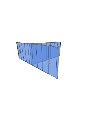 10mm Toughened Glass Partitioning  Kit with Divider and 2 Doors-2500mm (h) x 8670mm (w) x 6350mm (d).