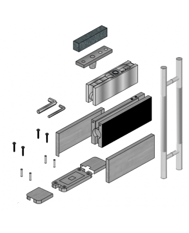 Glass Door Hardware with 600mm Handle