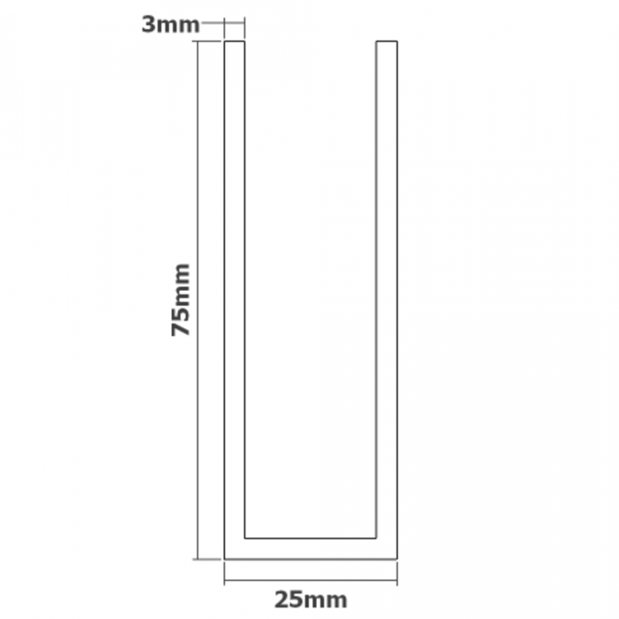 75mm U Channel - 3m - White Glass Partition Channel